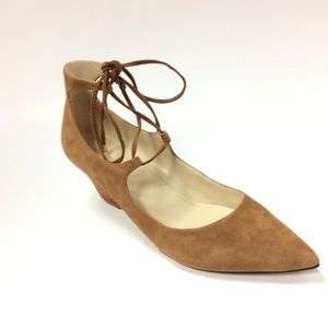 Marc Fisher Ankle Tie Suede Cognac Pointed Shoes